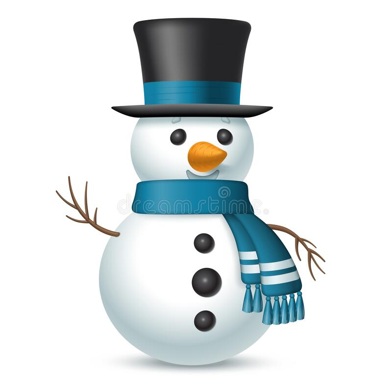 Free Christmas Snowman With Top-hat And Scarf Isolated On White Background. Vector Illustration Stock Photography - 198160372