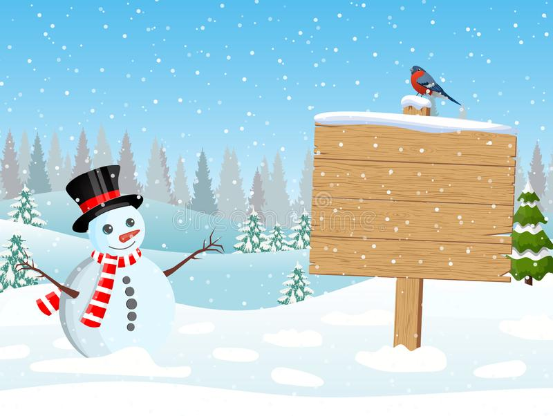 Christmas snowman with wooden sign and pine trees. Merry christmas holiday. New year and xmas celebration. Vector illustration in a flat style royalty free illustration
