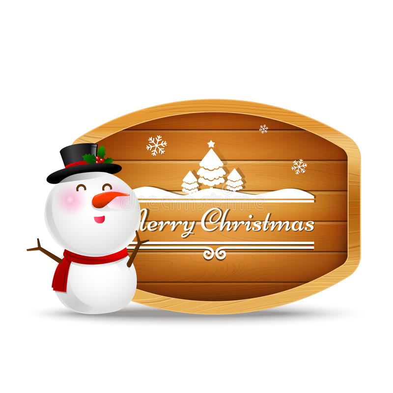 Christmas snowman and wooden sign with text merry christmas. Vector illustration eps 10 royalty free illustration