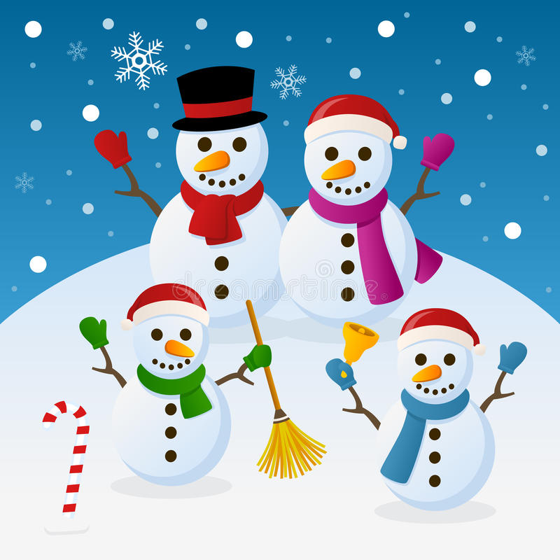 Christmas Snowmen Family. A funny cartoon Christmas family with four snowman, in a snowy scene. Eps file available