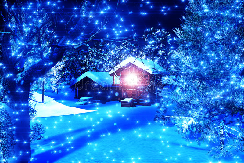 Christmas Snowy Forest 3D render 1 vector illustration