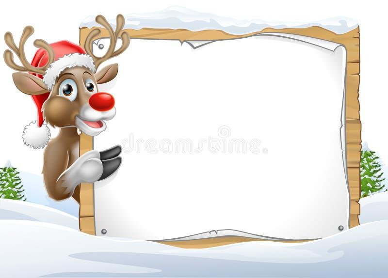 Santa Hat Reindeer Christmas Sign stock illustration