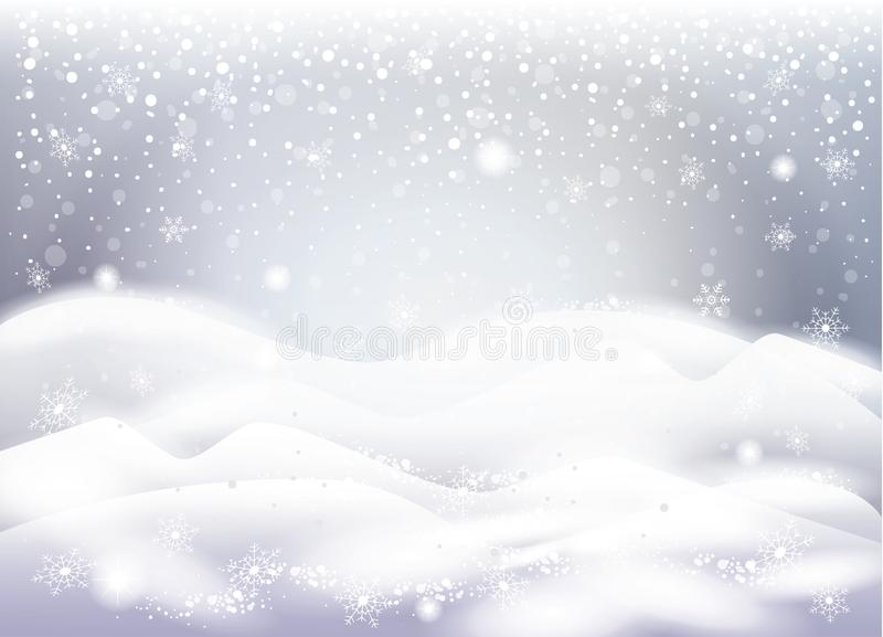 Christmas snowy landscape, snowfall, snowflakes falling. Christmas snowy landscape with beautiful snow mountain, snowflakes falling, magic sparkles lights royalty free illustration