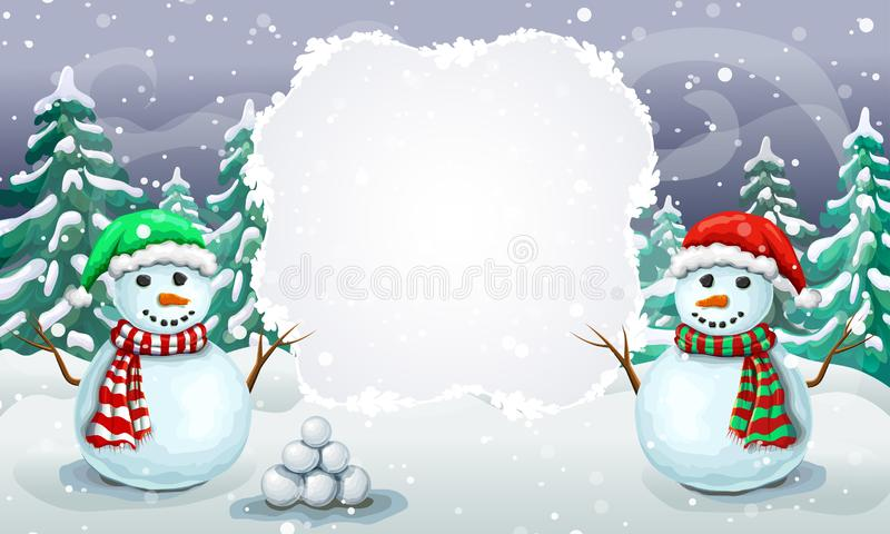 Christmas snowy scene with couple of greeting snowmen in santa hats. Christmas card template or holiday winter banner royalty free illustration