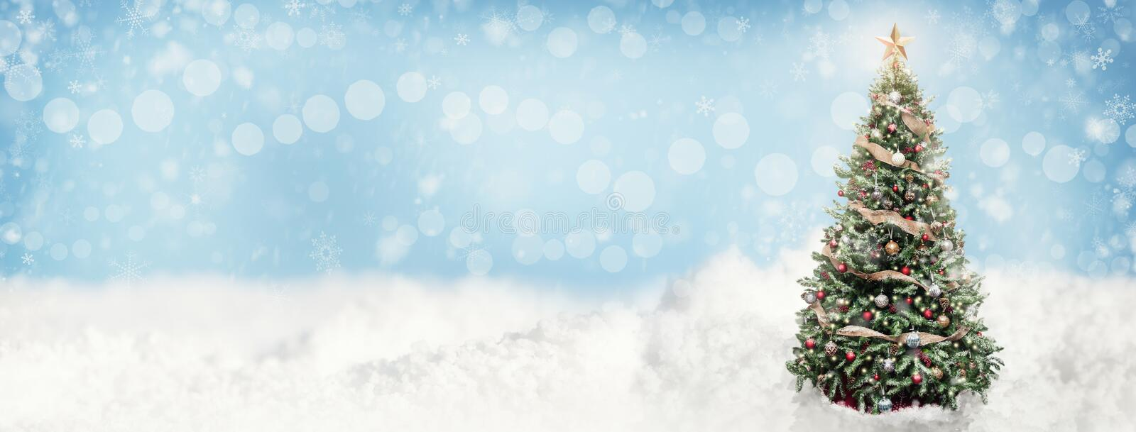 Christmas Snowy Scene Web Banner royalty free stock photo