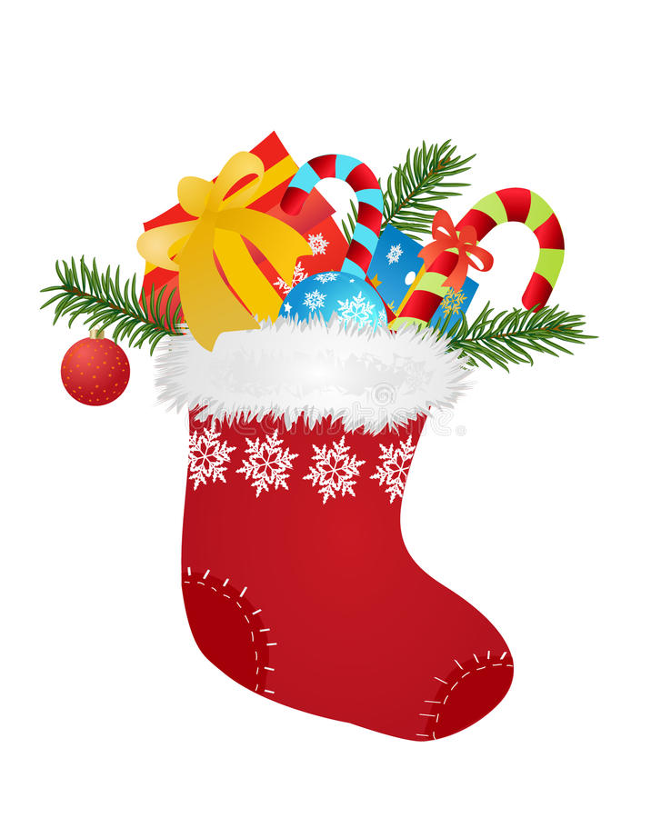 Christmas sock. Christmas red sock with gifts and candies - vector illustration vector illustration