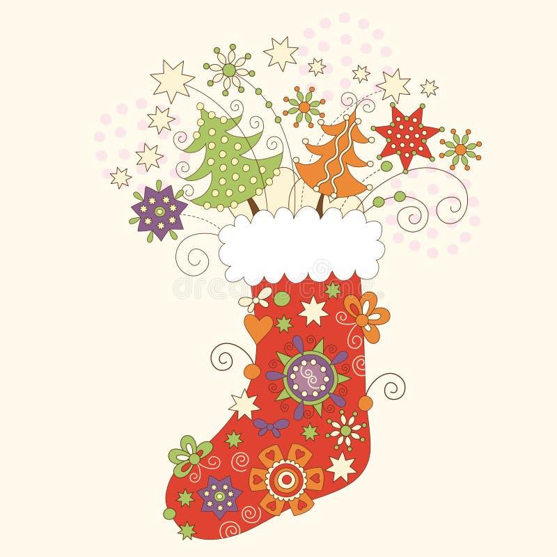 Christmas sock. Christmas greeting card vector illustration