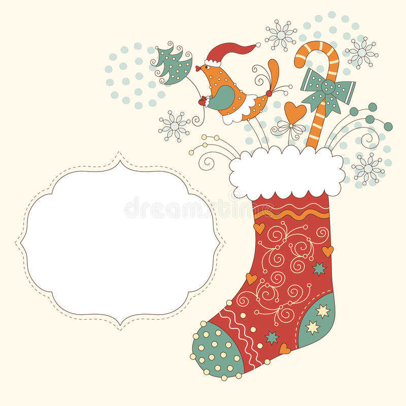 Christmas sock. And frame for text, greeting christmas card royalty free illustration