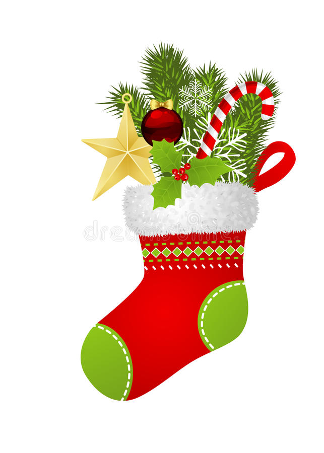 Christmas sock. With fir branch, star, candy cane, snowflakes and Christmas ornament stock illustration