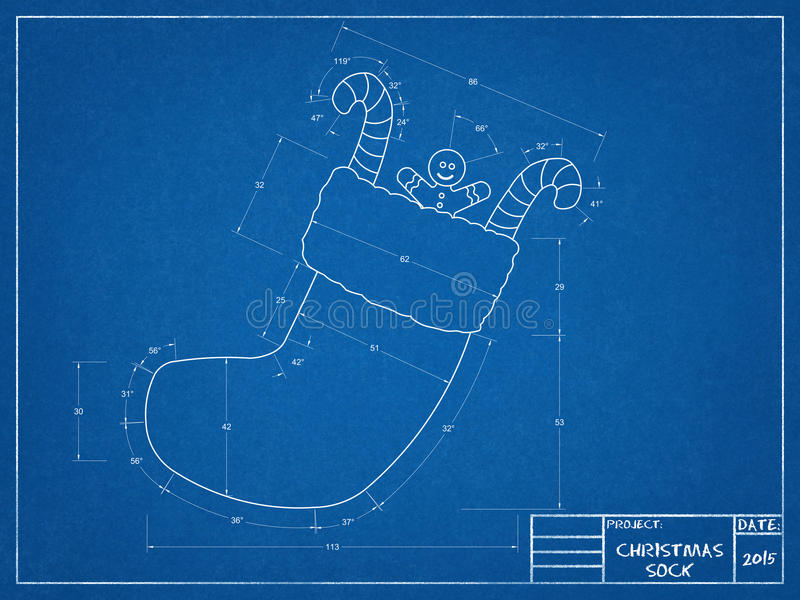 Christmas Sock Blueprint. Tehnical drawing of Christmas Sock Blueprint vector illustration