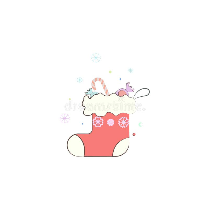 Christmas sock, gift winter wear icon. Element of Christmas for mobile concept and web apps. Colored Christmas sock, gift winter w royalty free illustration