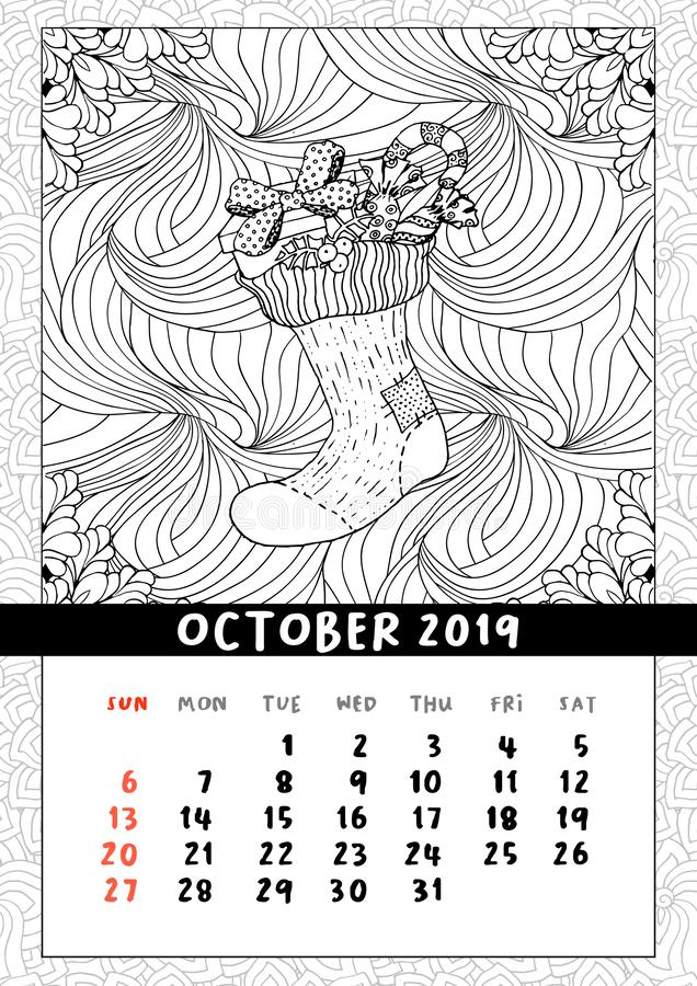 Christmas sock with gifts, calendar October 2019. Traditional Christmas symbol in coloring book page format. Handdrawn festive illustration in outline style stock illustration