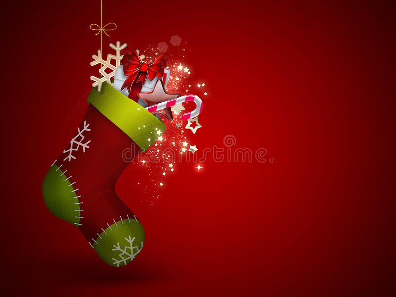 Christmas Sock. With gifts - festive background royalty free illustration