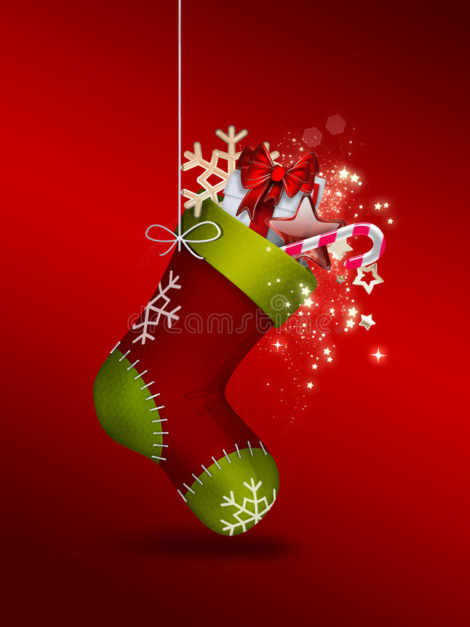 Christmas Sock. With gifts - festive background vector illustration