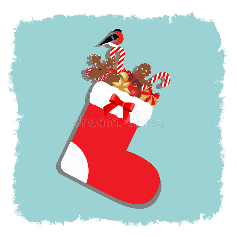 Christmas sock with gifts. Inside on a blue background stock illustration