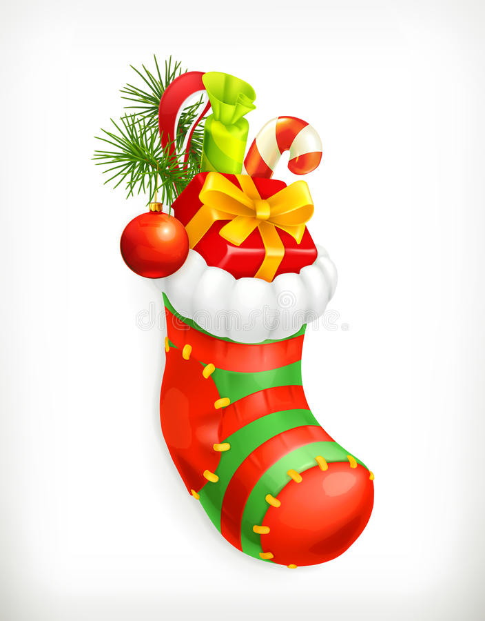 Christmas sock with gifts. Vector icon stock illustration