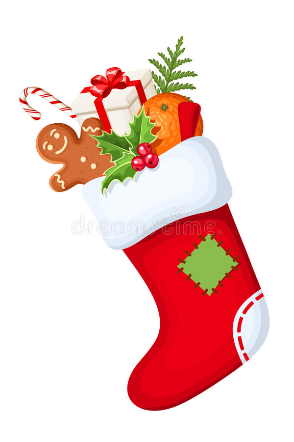 Christmas sock with gifts. Vector illustration. royalty free illustration