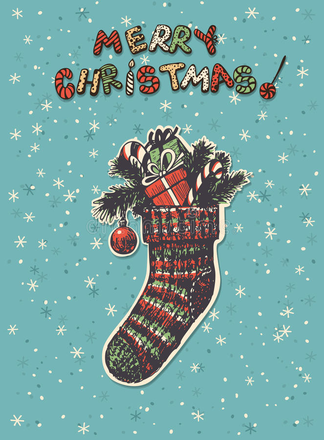 Christmas sock. Hand drawn Christmas sock with gifts, fir branches and candy canes royalty free illustration