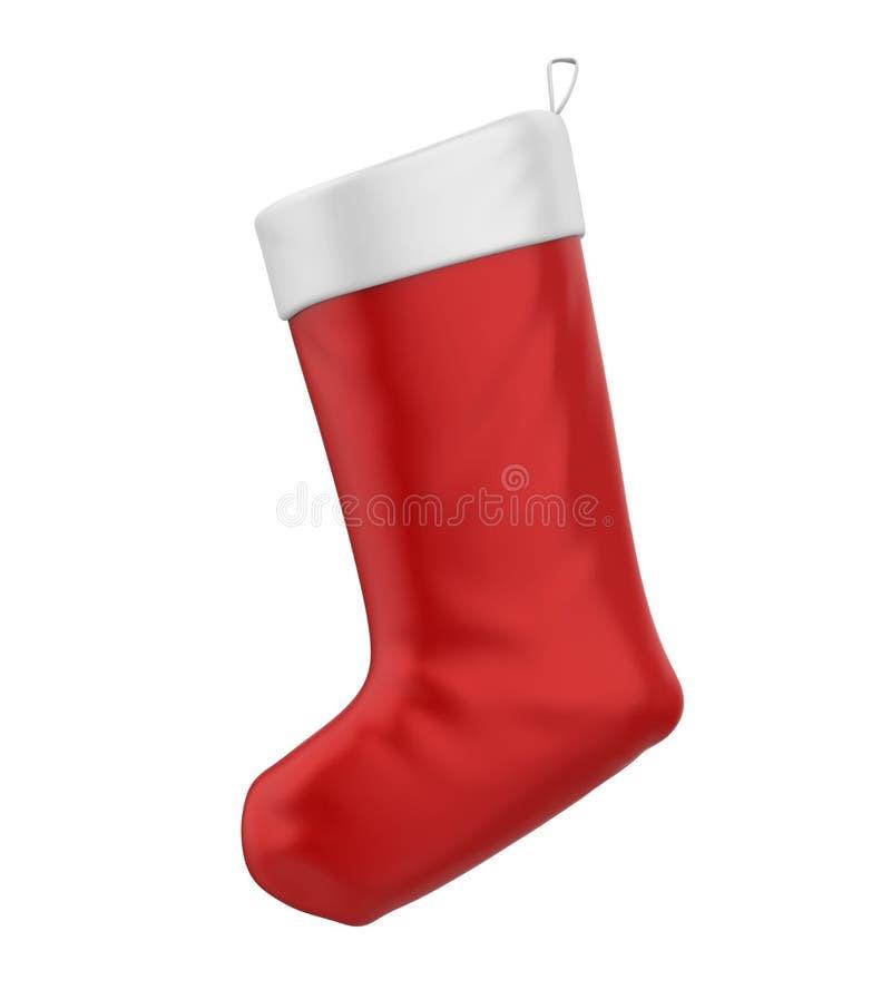 Christmas Sock Isolated. On white background. 3D render vector illustration