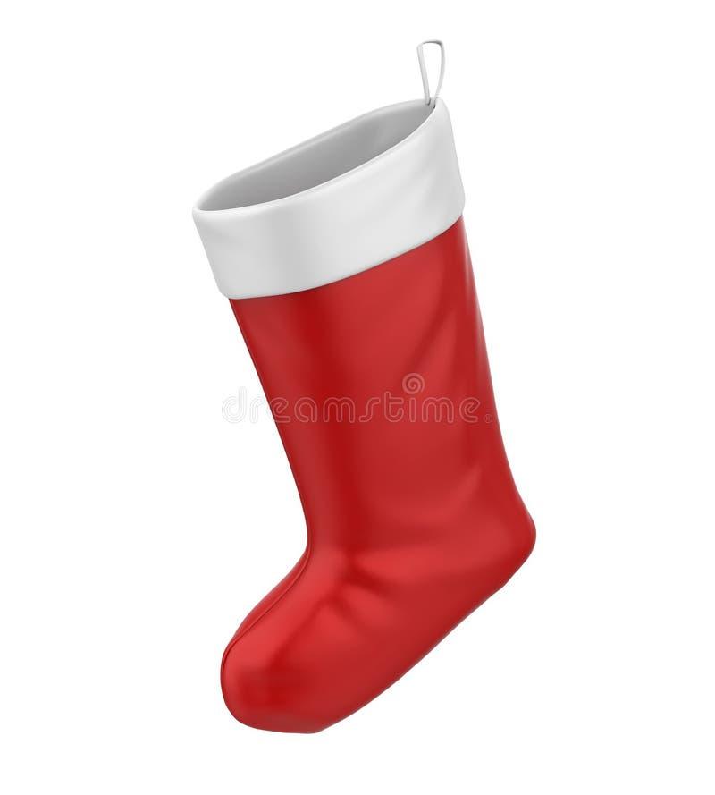 Christmas Sock Isolated. On white background. 3D render stock illustration