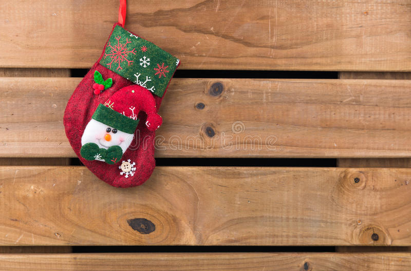 Christmas sock with Snowman stock image