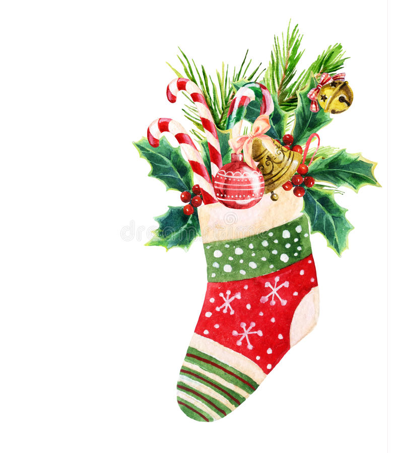 Christmas sock in watercolor. Christmas sock with presents in watercolor stock illustration