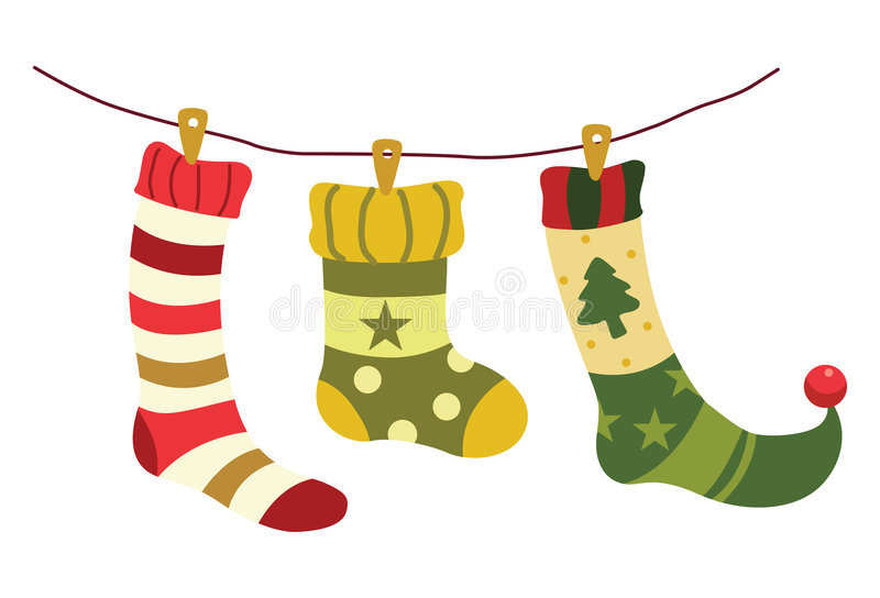 Christmas Stockings Cartoon.Christmas Stockings In Winter Nature Stock Vector
