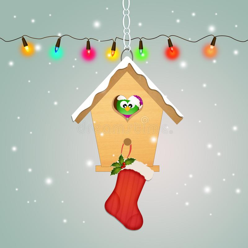 Christmas socks on bird house royalty free illustration