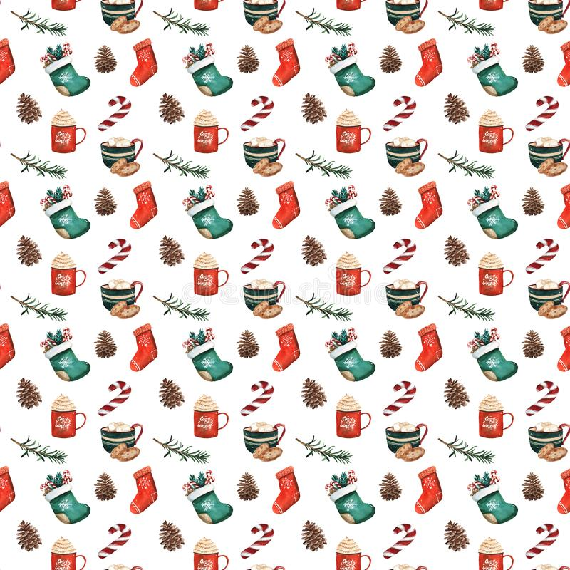 Christmas socks, gingerbread cookies, christmas tree branches, red berries, cinnamon, candy cane, orange. Seamless pattern. Waterc vector illustration
