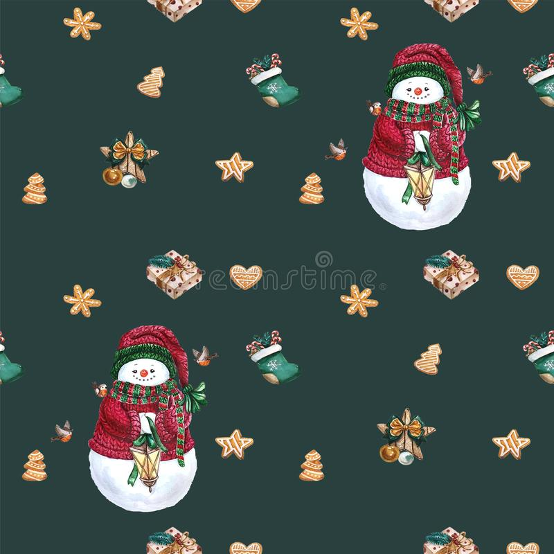 Christmas socks, gingerbread cookies, christmas tree branches,snowman, cinnamon, candy cane, lantern. Seamless pattern. Watercolor. Gingerbread cookies vector illustration