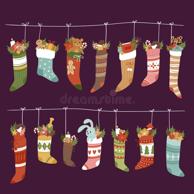 Free Christmas Socks Vector Santa Xmas New Year Gift Traditional Christians Symbol Sey Illustration Different Textile Design Stock Photos - 103899373