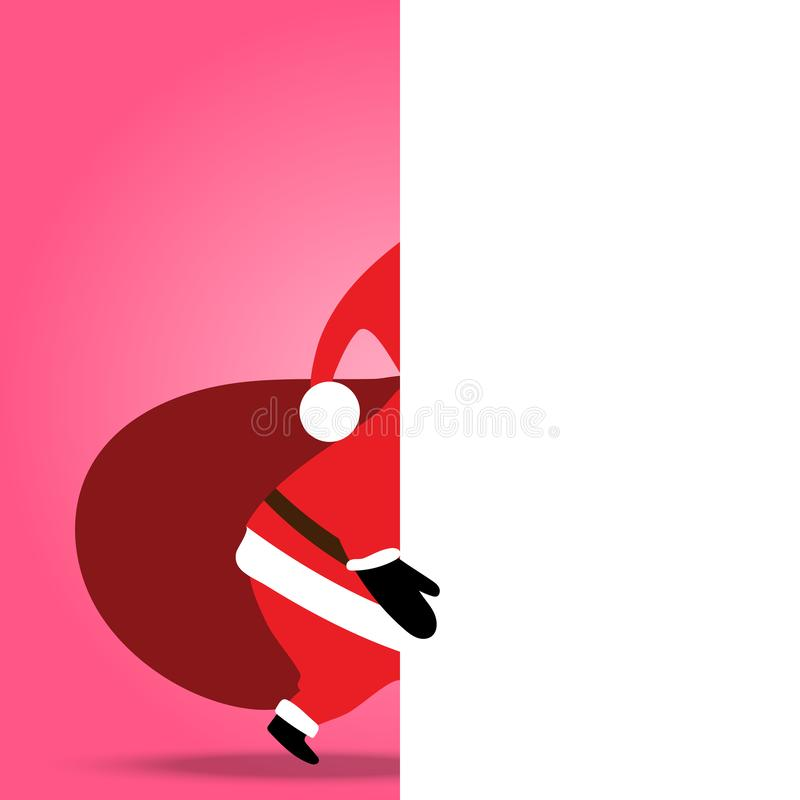 Christmas on soft pink background, back of Santa Claus walking showing white empty bill board, can presented your work stock illustration