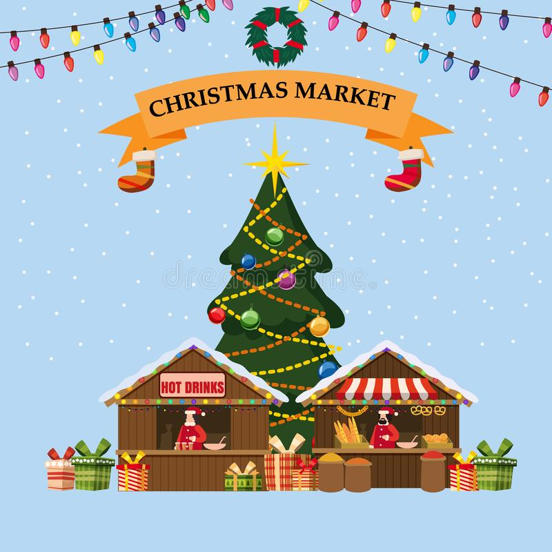 Big W White Christmas Tree: A Wooden Bakery Stall Stock Vector. Illustration Of Mobile