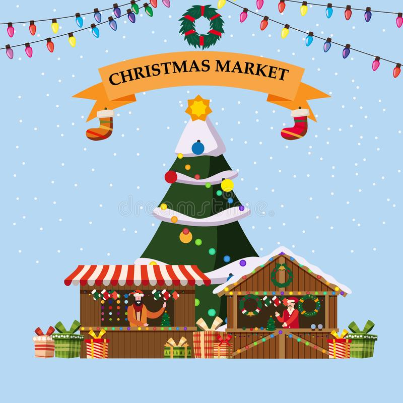 Christmas souvenirs market stalls with decorations and gifts. Big Christmas tree Xmas shops with garlands decorations. Christmas souvenirs market stalls with stock illustration
