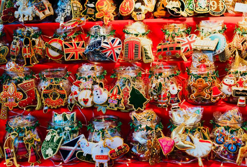 Christmas souvenirs in a stall at the Christmas market of Leicester Square in London. Christmas souvenirs in a stall at the Christmas market of Leicester Square royalty free stock photo