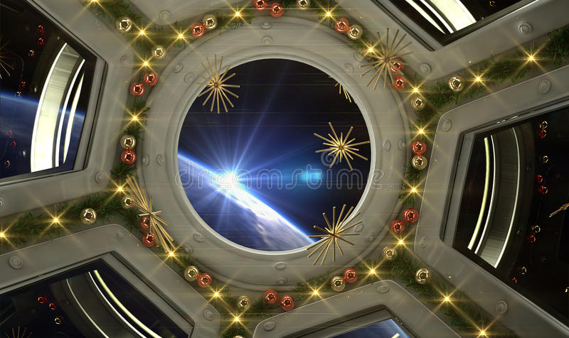 Download Christmas In The Space Station Stock Illustration - Image: 63356470