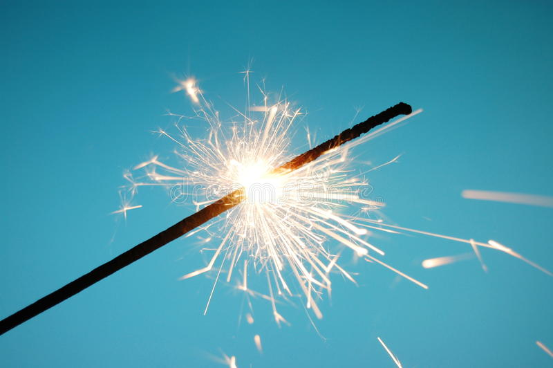 Christmas sparkler. With copyspace for text message royalty free stock image