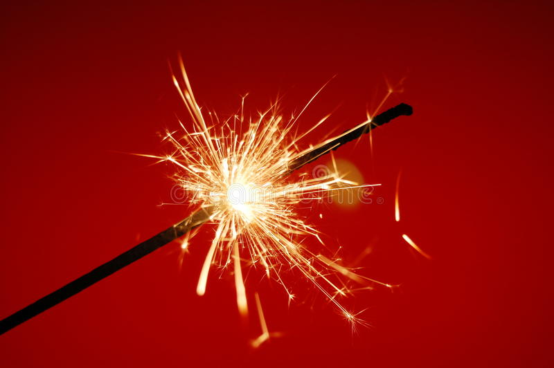 Christmas sparkler. With copyspace for text message stock image