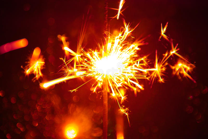 Christmas sparkler. Background close-up stock image