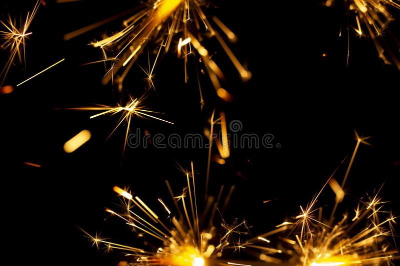 Christmas sparkler isolated on black background. Bengal fire. Close up royalty free stock photography