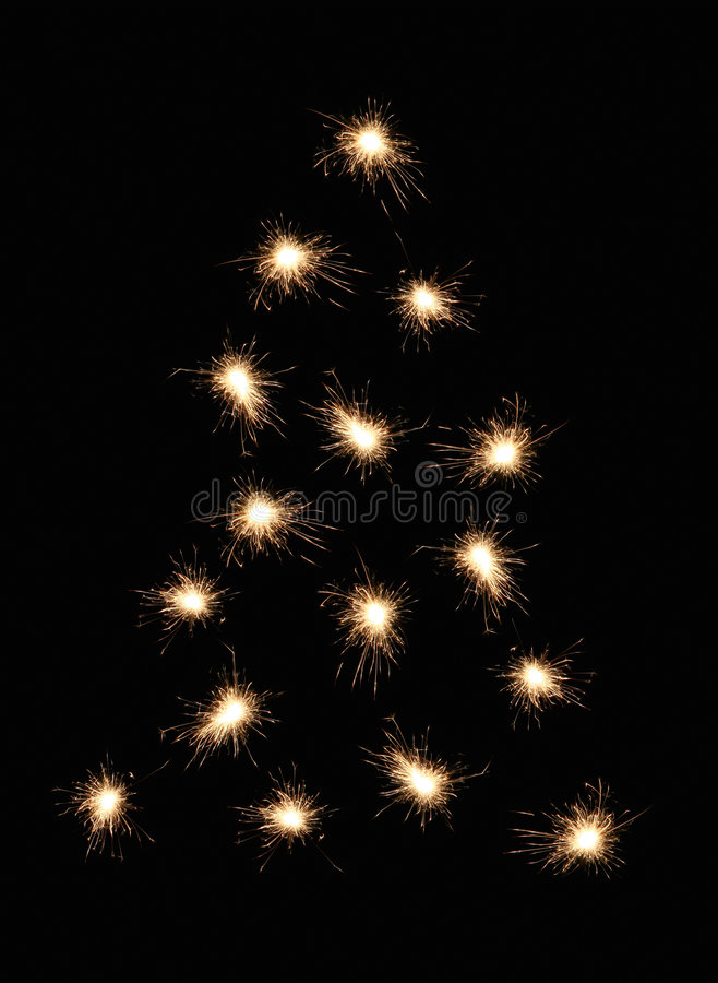 christmas sparkler tree στοκ φωτογραφία