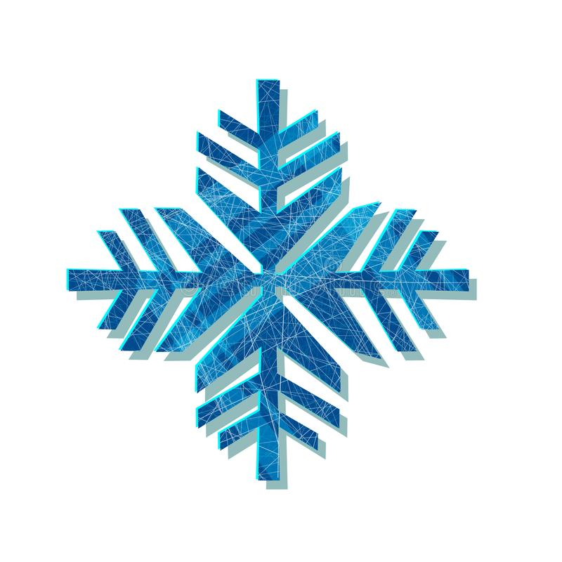 Christmas sparkling snowflake. Logo design template. Original elegant simple element. Abstract decorative illustration. In geometric style for print, web stock photo