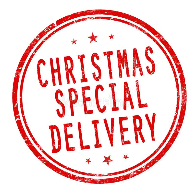 Christmas special delivery sign or stamp stock illustration