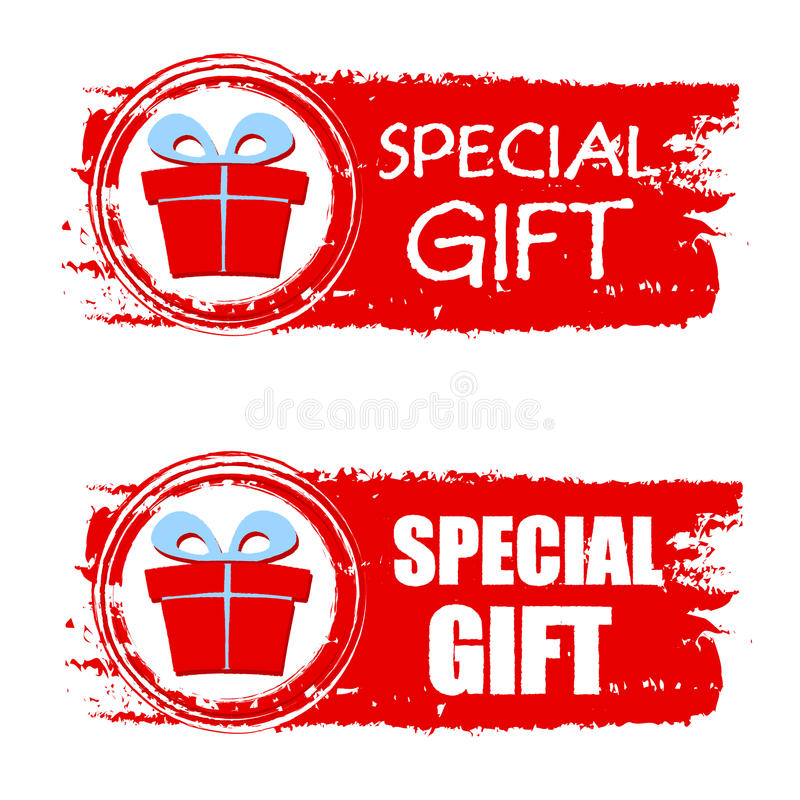 Christmas special gift and present box on red drawn banner stock illustration