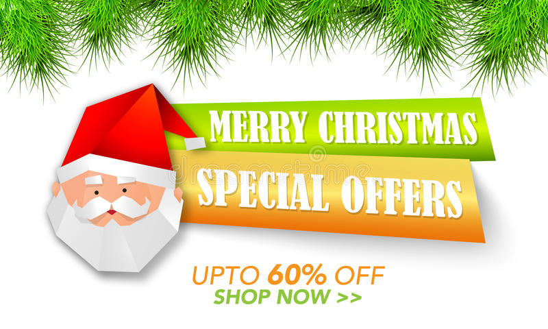 Christmas Special Offer Tag or Banner design. royalty free illustration