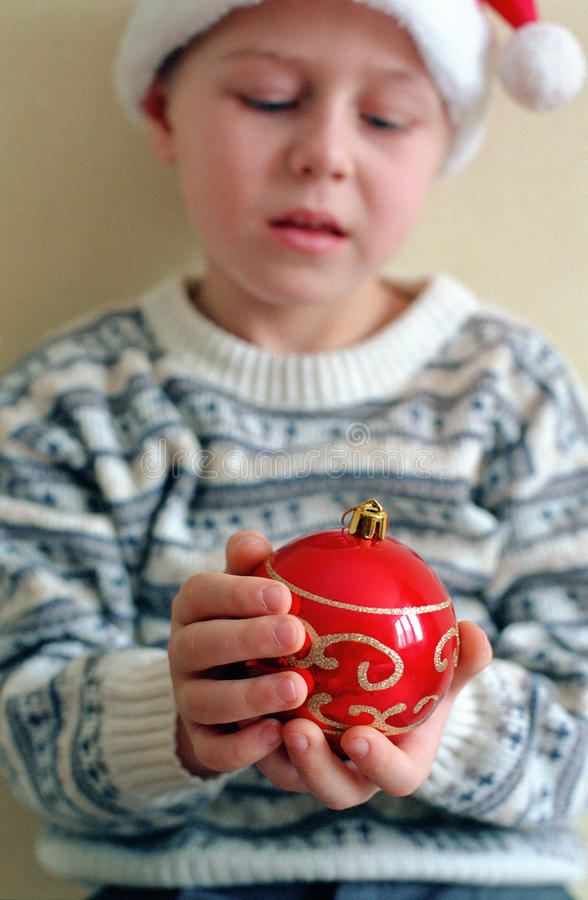 Download Christmas Sphere In Child Hands Stock Image - Image: 15486151