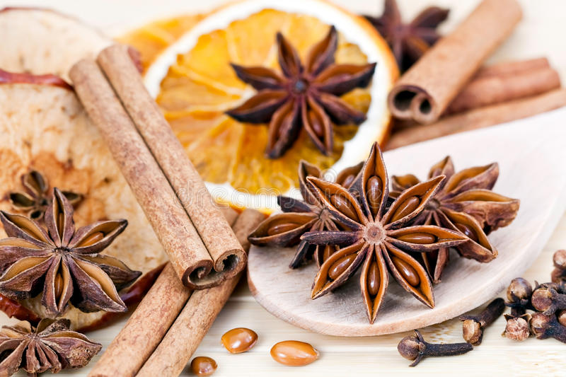 Christmas spices stock image