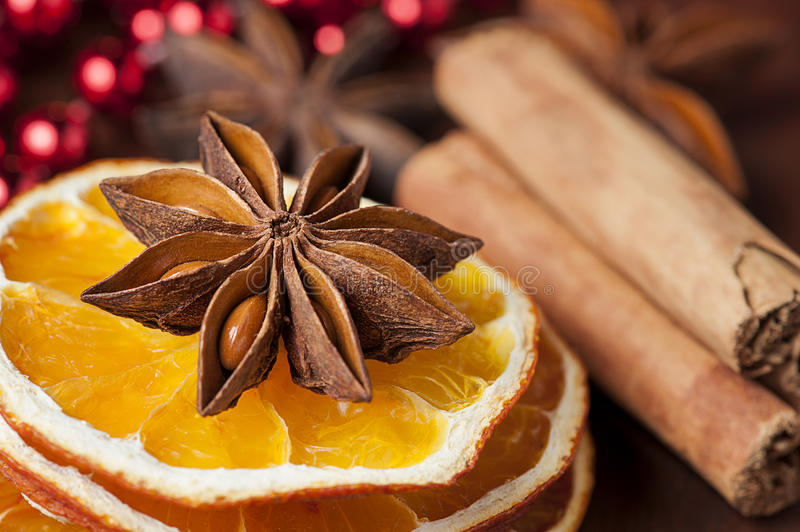 Christmas spices. Christmas decoration with aromatic spices royalty free stock photo