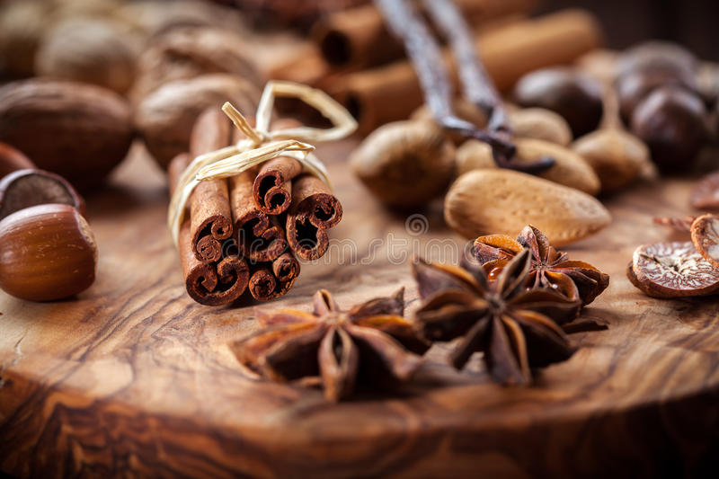 Christmas spices and nuts stock images
