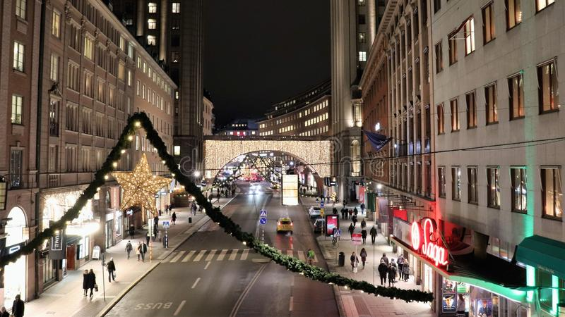 Christmas spirit on Kungsgatan in Stockholm royalty free stock photography